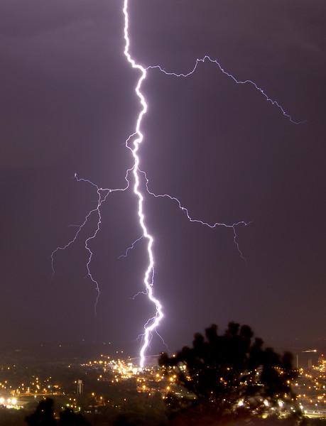 Lightning strike near Hills Materials