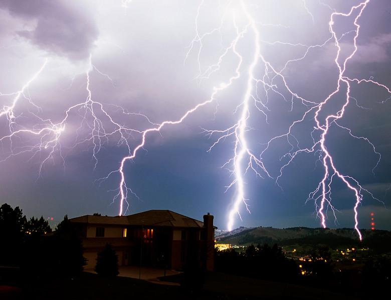 Multiple lightning strikes near Skyline Drive