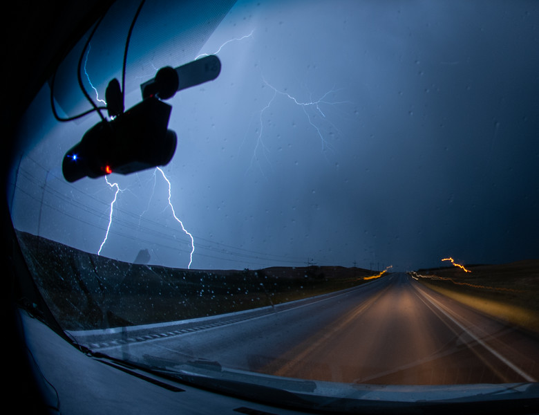 Lightning along I-90 in South Dakota