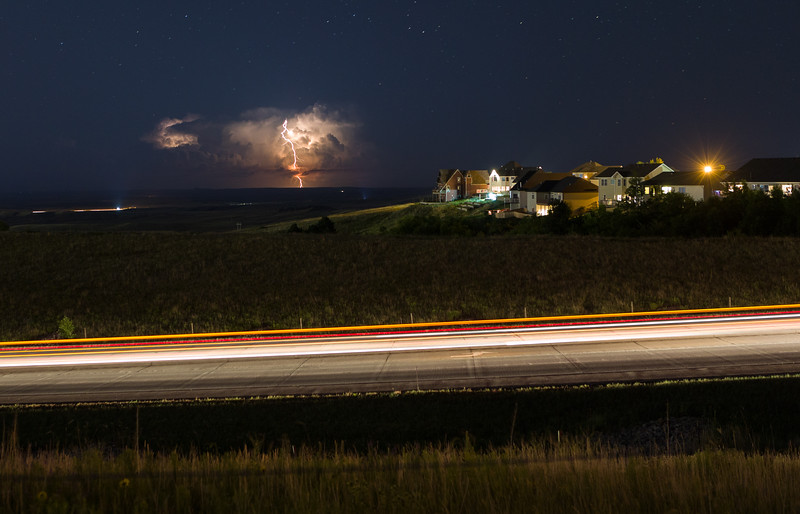An isolated storm in the southern Badlands as seen from Rapid City, SD