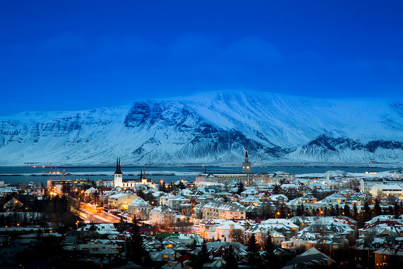 rekyavik at blue hour