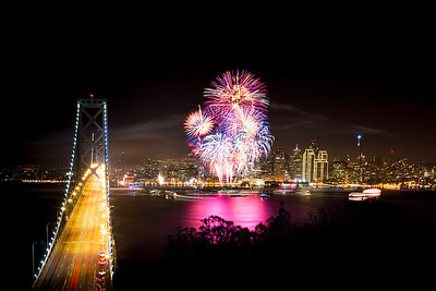 new year fireworks over San Francisco.
