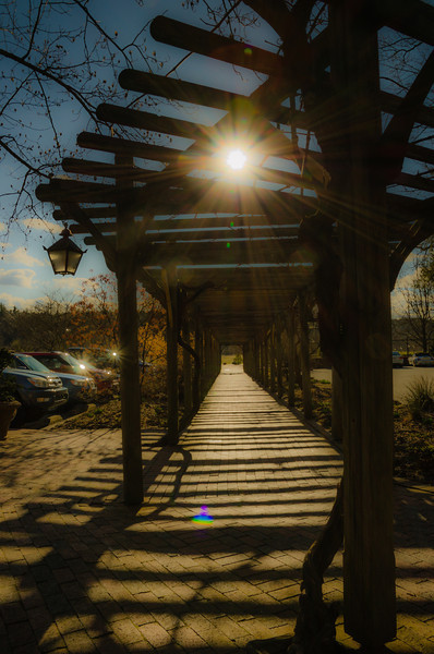 A walkway at the Antler Hill Village & Winery on the Biltmore Estate property.