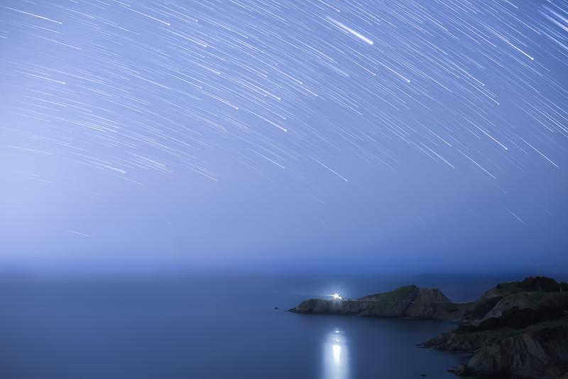 Star Trails over Point Bonita Lighthouse    Marin Headlands, California