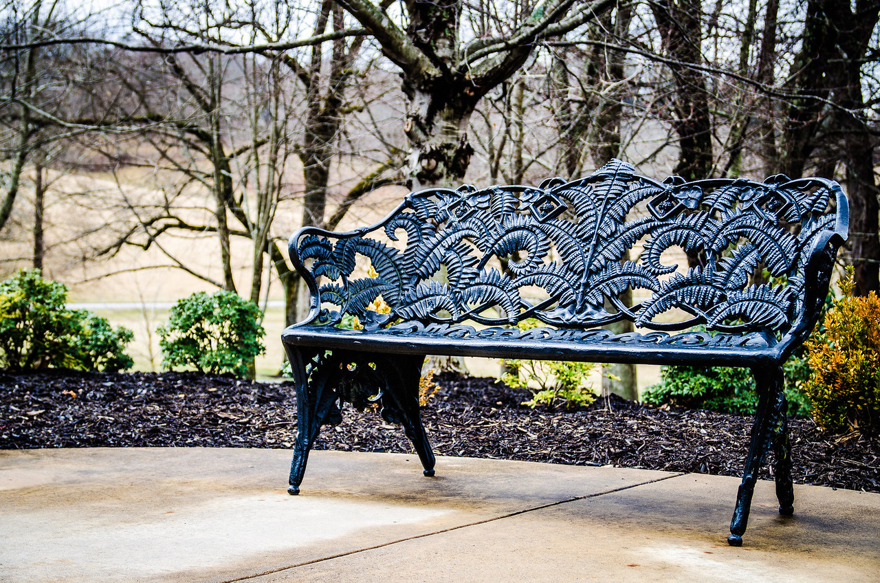 "A bench outside the ticketing ""house"" at the Biltmore Estate"