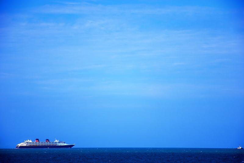 Cruise ship seen off the pier at Cocoa Beach