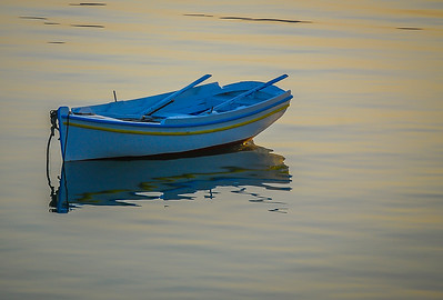 Greek Rowboat At Sunset
