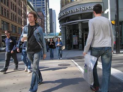 Street Crossing, Queen St. and Yonge Street.