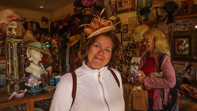 Guylaine buying a hat for a tea party in Florida