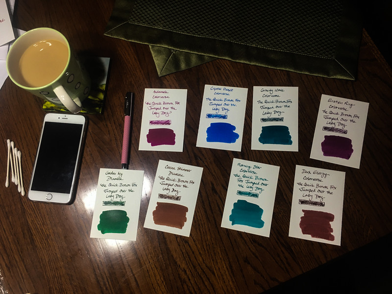 4 Jan: My wife collects fountain pens and ink. Here are some ink samples.