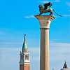 On guard <br /> (a column on Piazzetta San Marco, tower and cupola of San Giorgio Maggiore, Venezia, Italy 2011)