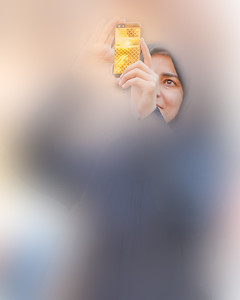 A girl and her golden iPhone