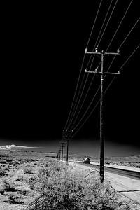 Telegraph poles, Mojave desert