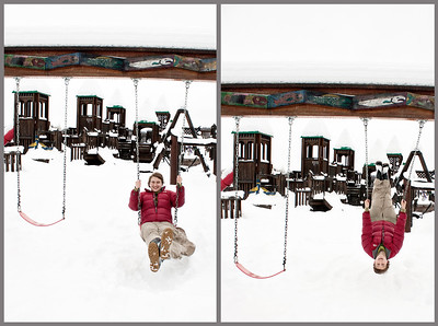 January 10, 2012. Day 4.  Swinging around in Wonderland Park, Wasilla.