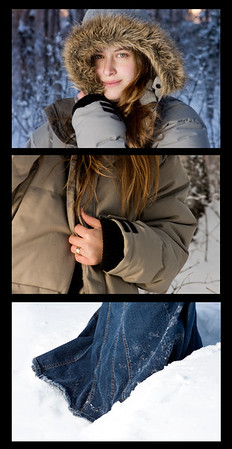January 16, 2012. Day 10.  My first try at off-camera lighting in the woods. Also, my first try at a triptych (3-piece photo.) I know it's not perfect, but hopefully the next one will be better!  Hanging around with Sandra Lowe in Wasilla, Alaska