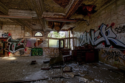 Abandoned Bank lobby in Brownsville PA.