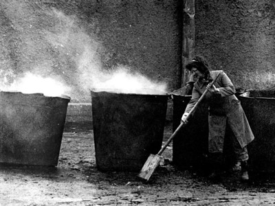 Cleaning lady in Russia  From 35mm B&W negative