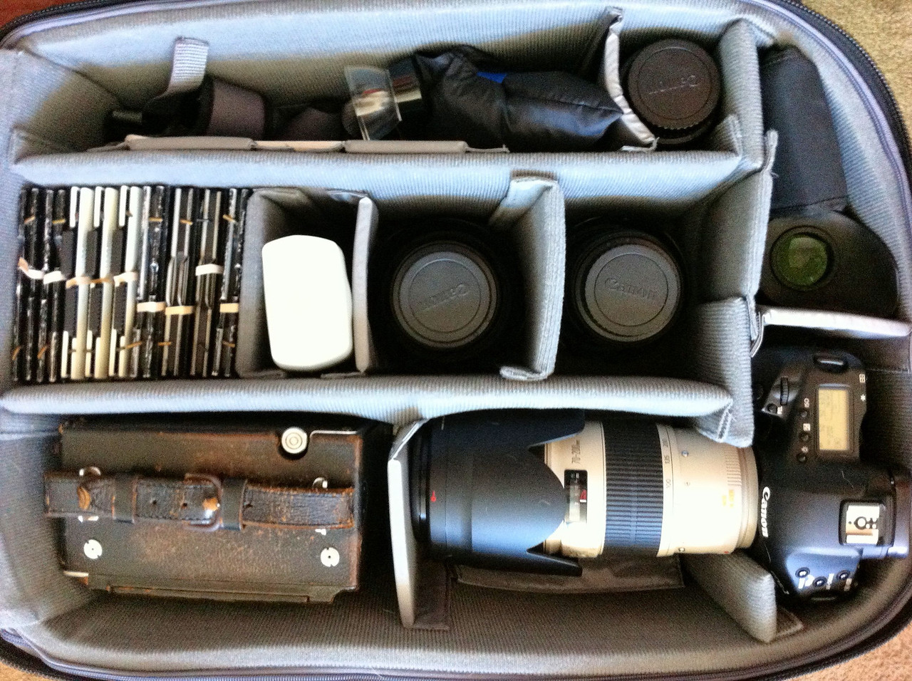 ThinkTankPhoto Airport Security V2 with Canon 1d MK IV, 50mm, 15-35mm, 24-105mm, 70-200mm, 580ex, Graflex speed graphic, 10 film holders, accessories and still have space