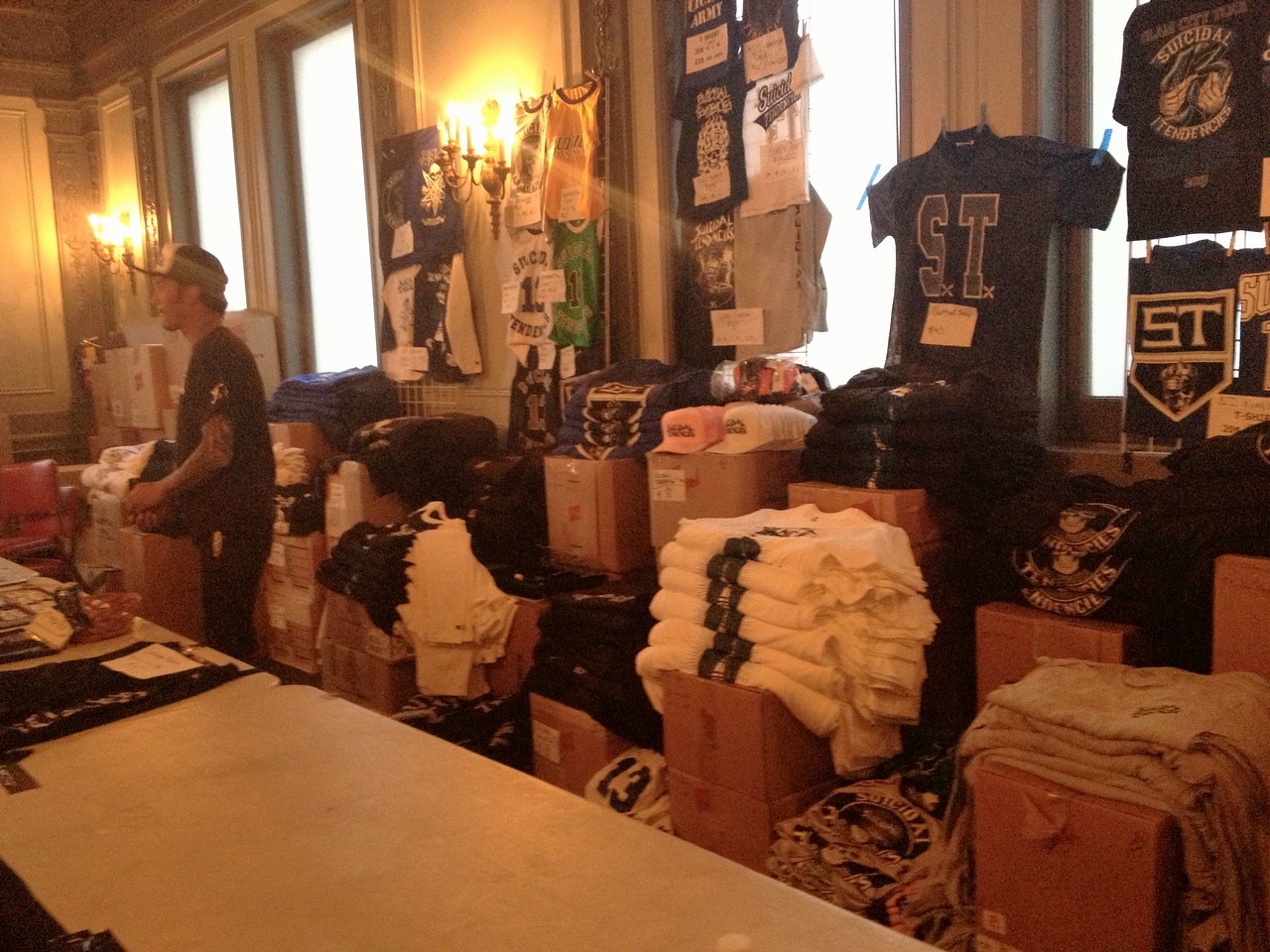 ST merch stand. Usually this space is for 3-4 bands