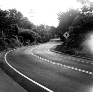7/14/2012 - A road at Stinson Beach, California. The shot was taken just after rain with my Mamiya C220 camera. This TLR was a real pro photographers tool in the early 70's. The shots have deam like quality in them with some light leaks, poor control over highlights but also excellent sharpness. I have to shoot more with this camera to get to know her better.
