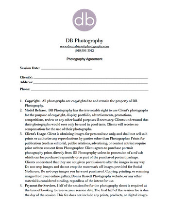 Photography Agreement Form - db photography
