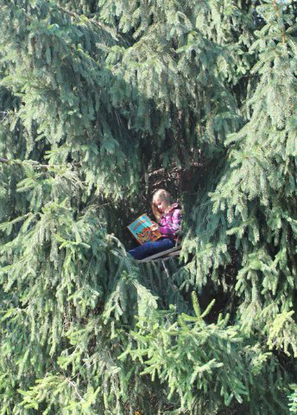 """""""Lost in a Book"""" <br /> <br /> I stood on a ladder in the street to take this photo of my granddaughter reading a book in her 'secret' fort, 12 feet up in a tree.  The original caption was """"Reading with Altitude"""", but after I cropped the photo, (so she was more visible) it revealed how far IN the tree she was, rather than how high up, and I liked that even better.  <br /> <br /> Canon Rebel T2i, f/5.6, 1/60, ISO 100 <br />  There was no Photoshop done except to crop.<br /> <br /> Kathy Moberg<br />  Johnsburg, IL"""