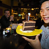 Happy birthday boy Eric with his chocolate cake.