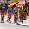 Rabobank riders take it easy to the finish line.