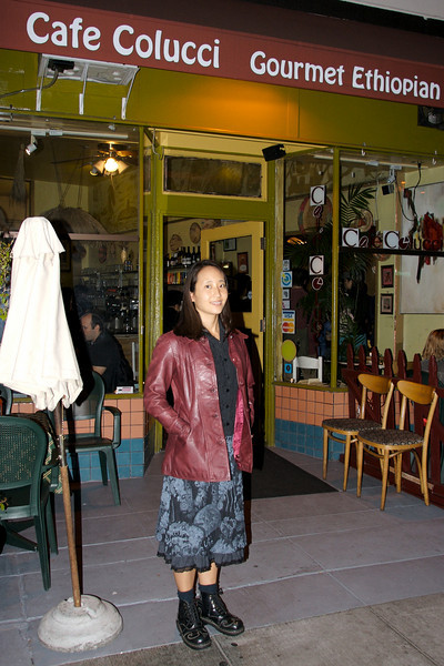 Rae in front of Cafe Colucci