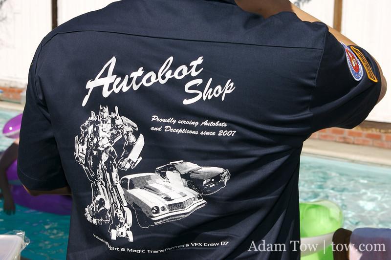 Kai with his Transformers machine shop shirt