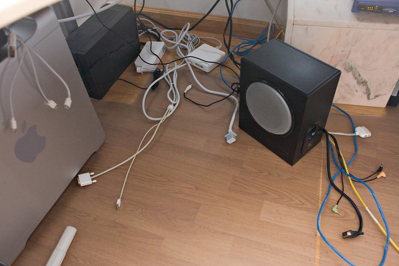 Here, all of the cables are spread out onto the floor.