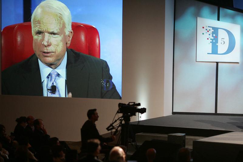 Senator John McCain answers a question