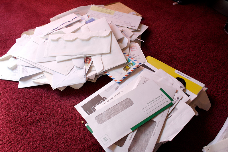 A small mountain of paper waiting to be recycled.
