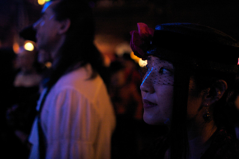 Rae watches the performances at the 2007 Edwardian Ball.