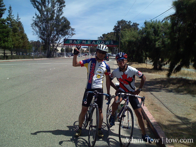 Jorge and Stephen celebrate finishing the 100-mile ride.