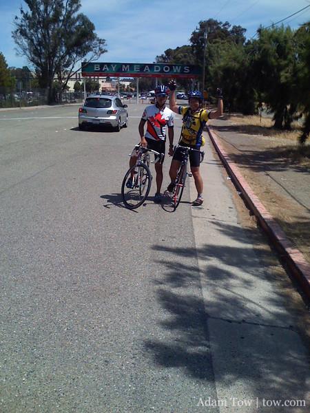 Jorge and I celebrate finishing the 100-mile ride.