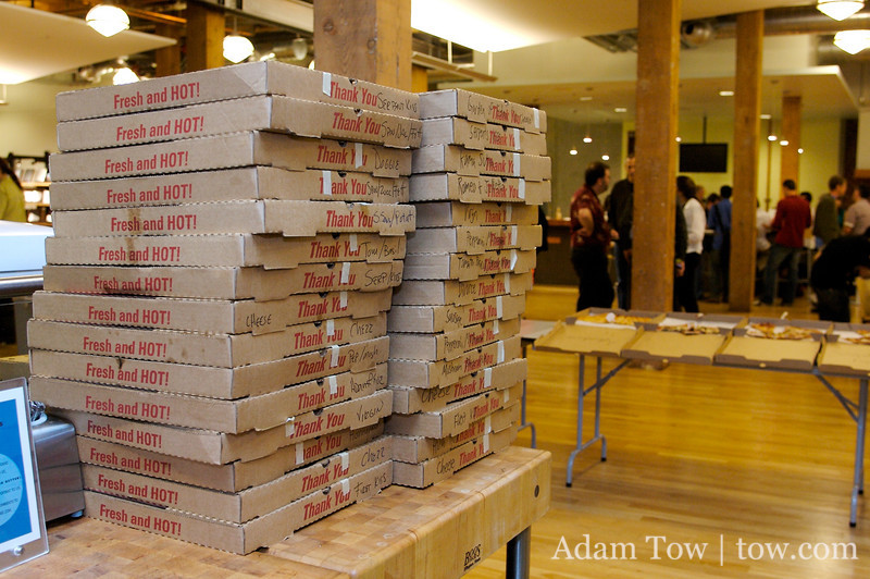 Pizzas selling out faster than iPhones at the iPhoneDevCamp in San Francisco.