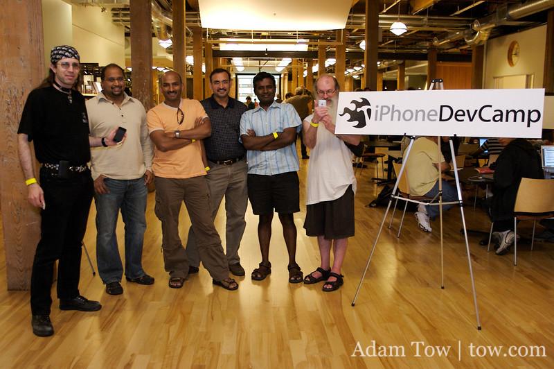 Lunatic, Sir Izzac, Ravi and Ravi's friends at iPhoneDevCamp.
