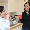 Monica and Vanessa share a laugh at our New Year's party.