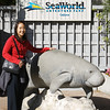 Rae in front of the Manatee Rescue exhibit at Sea World.