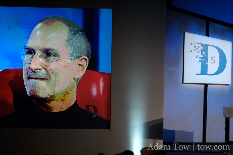 The image of Steve Jobs projected at D5.
