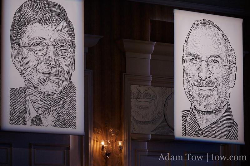 WSJ drawings of Bill Gates and Steve Jobs adorn the Grand Ballroom at the Four Seasons Aviara Hotel and Resort in Carlsbad, California.