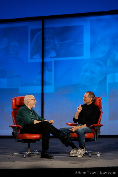 Steve Jobs during his one-on-one interview with Walt Mossberg at the D5 Conference in Carlsbad, California.