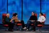 Walt Mossberg and Kara Swisher interview Steve Jobs and Bill Gates at the D5 Conference in Carlsbad, California.