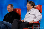 Bill Gates and Steve Jobs, wizened veterans of the computing industry, onstage at D5.