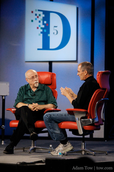 Steve Jobs responds to a question during his one-on-one interview with Walt Mossberg at D5 in Carlsbad, California.