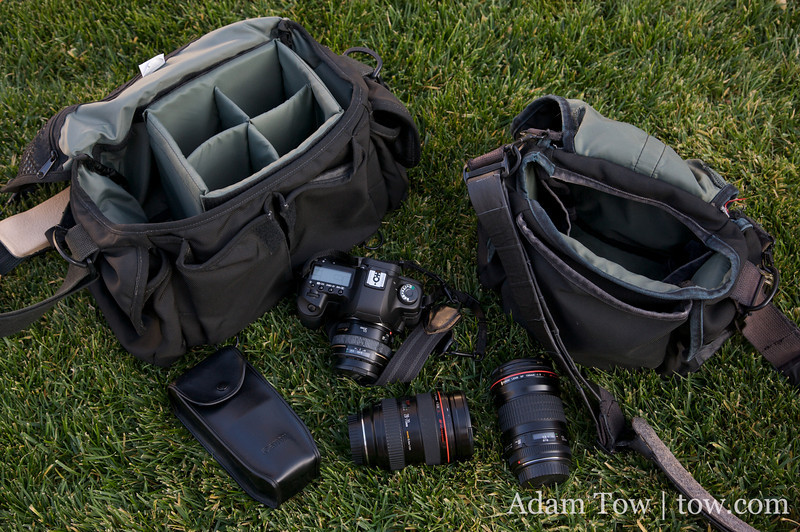 The following equipment will be placed in both bags: Canon EOS 5D Mark II, 28-70/2.8, 135/2.0, and a 550EX Flash.
