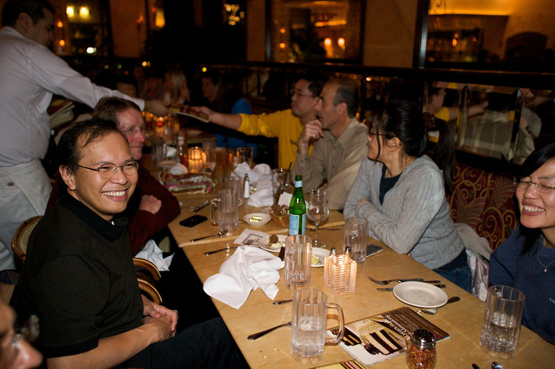 The former Palm Content & Access group meets for its annual holiday get together, this time at the Palo Alto Cheesecake Factory.