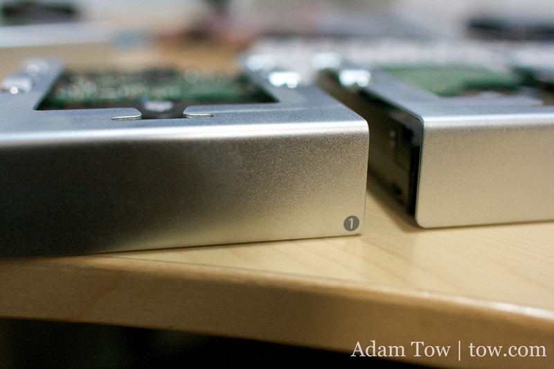 Hard drive trays for a Mac Pro.
