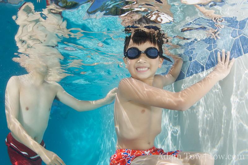 Having fun in the pool.
